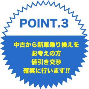 point.3中古から新車乗り換えをお考えの方値引き交渉確実に行います!!
